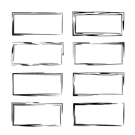 Black linear grunge frames collection. Set of rectangle empty borders.  Vector illustration. Stock Illustratie