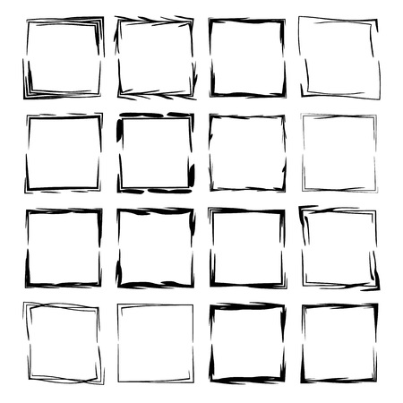 Black square grunge frames collection. Set of geometric rectangle empty borders.  Vector illustration.