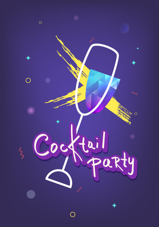 Cocktail party vertical dark template. Holiday banner with shine decoration and creative lettering. Event invitation ultra violet flyer. Vector illustration. Ilustração