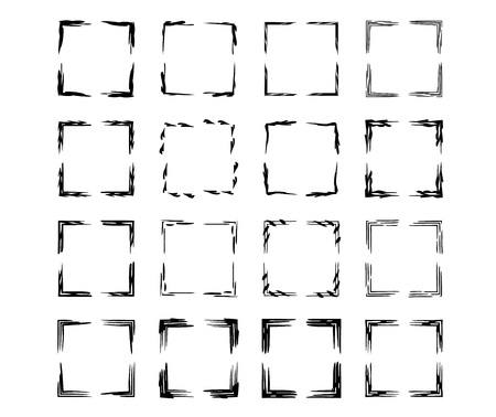 Square grunge frames. Collection of geometric empty borders.  Vector illustration.