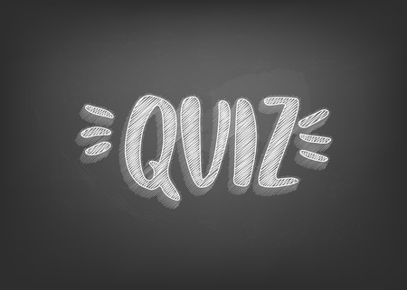 Quiz retro card with handwritten chalk lettering. Template for social media. Vector illustration. 向量圖像
