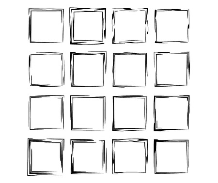 Square grunge frames collection. Set of  rectangle empty borders elements.  Vector illustration.