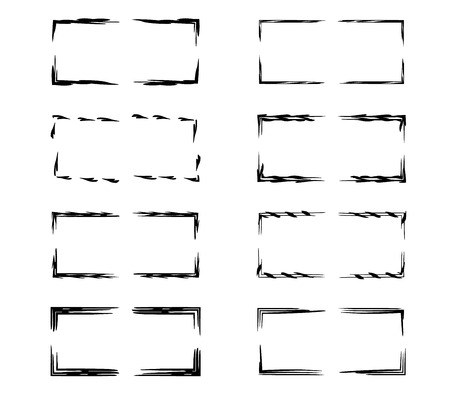 Rectangle grunge frames. Collection of geometric empty borders.  Vector illustration. Stock Illustratie