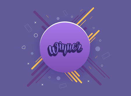 Winner quote with round badge. Handwritten lettering with decoration. Sticker creative text. Template for social media nework. Vector illustration.