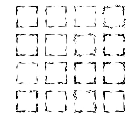Black square grunge frames. Set of geometric rectangle empty borders.  Vector illustration. Stock Illustratie