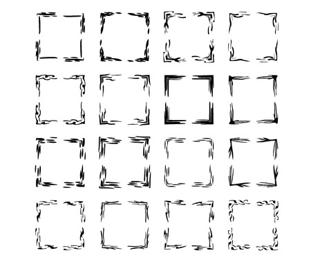 Black square grunge frames collection. Set of  rectangle empty borders elements.  Vector illustration.