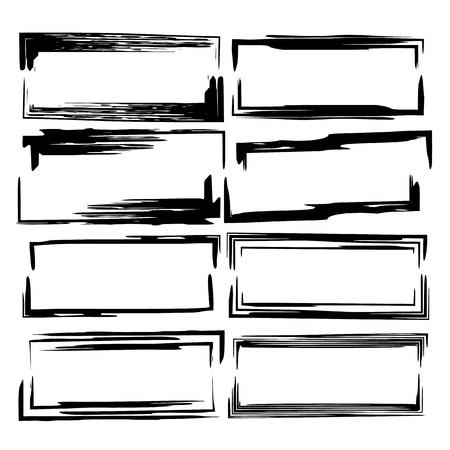 Set of black rectangle grunge frames. Geometric empty borders. Linear frame. Vector illustration.