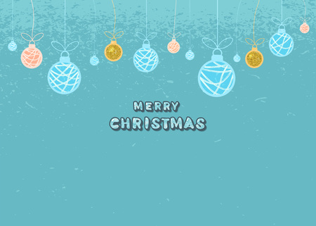 Merry Christmas greeting template. Creative lettering with  decotated Christmas-tree balls. Creative text with decoration for holiday design.  Element for  social media. Vector illustration.