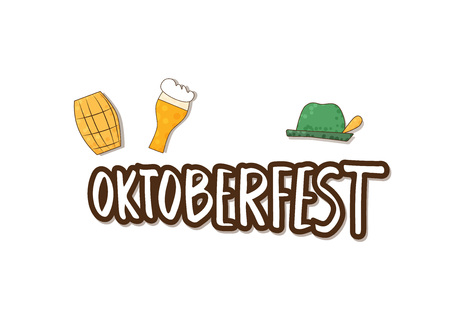 Oktoberfest lettering composition. Handwritten text with sticker beer mug, cask, hat. Vector illustration.