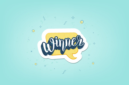 Winner banner. Handwritten lettering with decoration. Sticker creative text. Template for social media nework. Vector illustration.