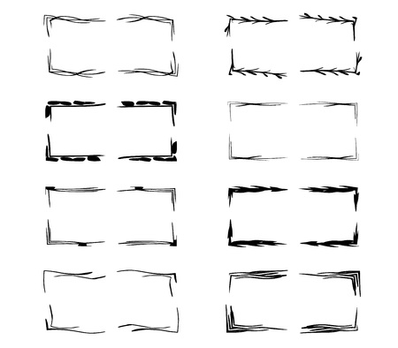 Black linear grunge frames collection. Set of geometric rectangle empty borders elements.  Vector illustration. Stock Illustratie