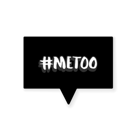 Metoo card with speech bubble. Handwritten lettering Me too. The inscription: #metoo. Social movement hashtag against harassment. Vector illustration.