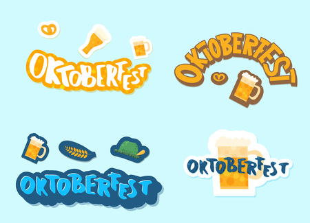 Set of Oktoberfest lettering composition. Handwritten text with stickers decoration. Vector illustration.