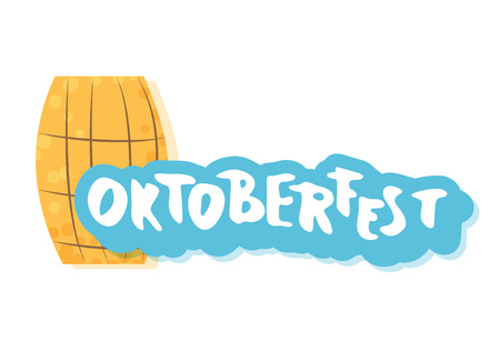 Oktoberfest lettering composition. Handwritten text with sticker beer cask decoration. Vector illustration. Ilustração