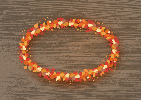 Autumn ellipse wreath with leaves and berries  on dark wood background. Element for season design. Vector illustration.