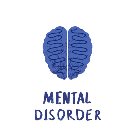 Mental disorder icon. Vector human brain with lettering.