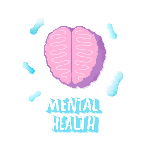 Mental health ilettering with brain. Vector illustration. Ilustração