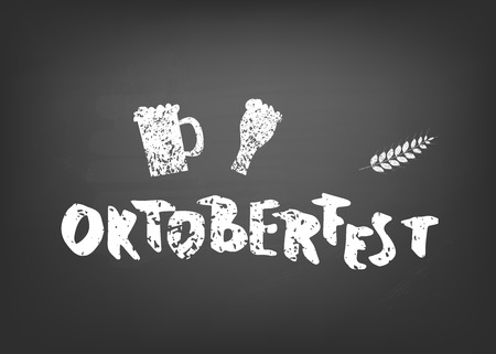 Oktoberfest lettering composition. Handwritten textured text decoration on blackboard. Vector illustration. Çizim