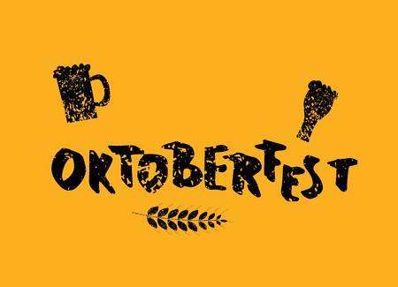 Oktoberfest lettering textured composition. Handwritten text with sticker beer mugs decoration. Vector illustration.