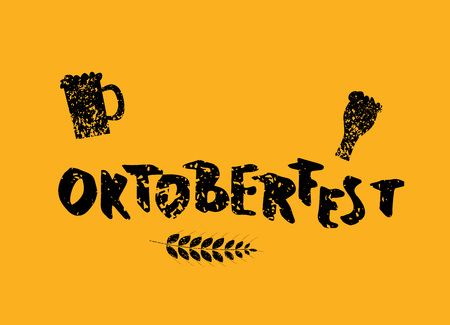 Oktoberfest lettering textured composition. Handwritten text with sticker beer mugs decoration. Vector illustration.
