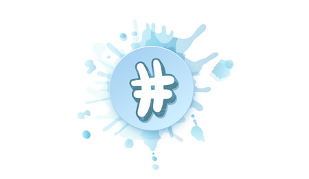 Hashtag sign with round badge and watercolor splash blot. Vectores