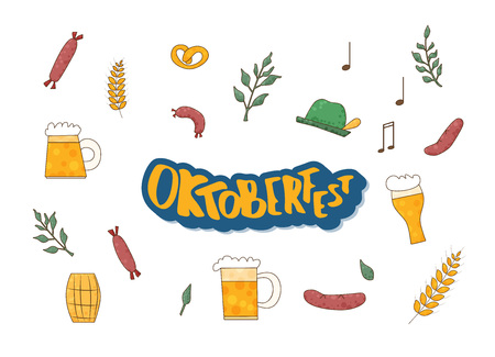 Set of Oktoberfest items with lettering. Handwritten text with holiday pack. Vector illustration.