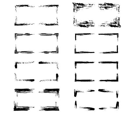 Cadres de grunge rectangle noir.