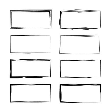 Set of black square grunge frames. Illustration