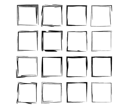 Set of black square grunge frames. Stock Illustratie