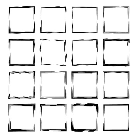 Collection of black square grunge frames. Stock Illustratie