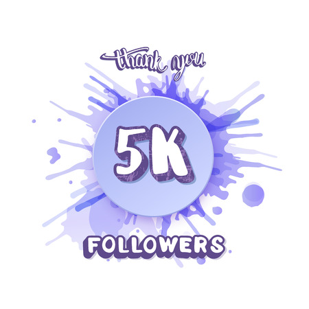 5k followers thank you social media template. Banner for internet networks with watercolor splash. Vector illustration.