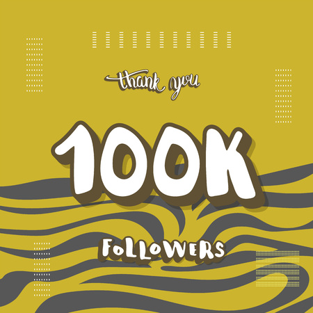 100k followers thank you social media template. Banner for internet networks with zebra striped pattern. 100000 subscribers congratulation post. Vector illustration.