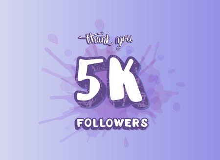 5k followers social media template. Banner for internet networks. 5000 subscribers congratulation post. Vector illustration.