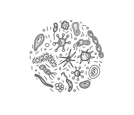 Bacteria cells round composition. Microorganism collection isolated on white background. Coloring book. Vector doodle style composition. Vetores