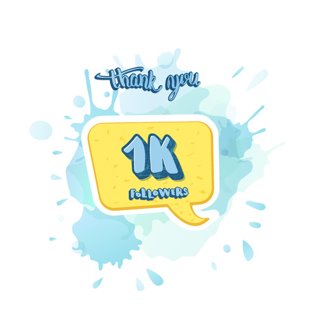 1k followers thank you social media template. Banner for internet networks with watercolor splash and speech bubble.  1000 subscribers congratulation post. Vector illustration. Иллюстрация