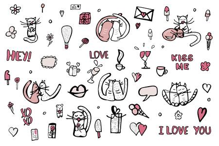 Set con simboli d'amore carini. Gatti, citazioni Baciami, ti amo, xoxo e oggetti del giorno di San Valentino. Illustrazione vettoriale.