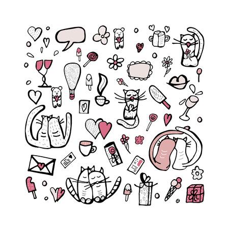 Doodle serti de symboles d'amour mignons. Chats et objets de la Saint-Valentin. Illustration vectorielle. Vecteurs
