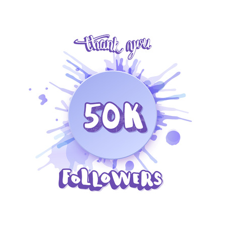 50K followers thank you social media template. Banner for internet networks.  50000 subscribers congratulation post. Vector illustration.