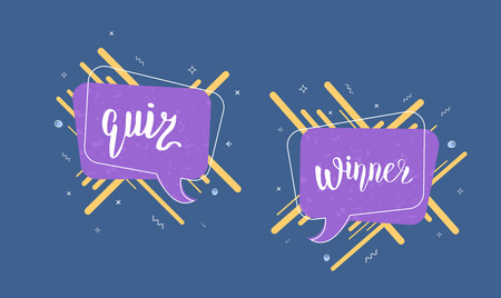 Quiz and Winner stickers. Handwritten lettering with speech bubble and lines. Template for social media nework. Vector illustration.
