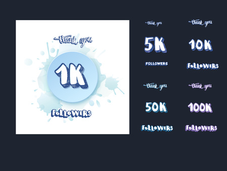 Set of  social media template and elements. Banner and lettering for internet networks.  1K,  5K, 10K, 50K, 100K followers thank you congratulation posts. Vector illustration.