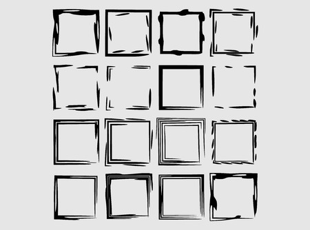 Set of black square grunge frames. Geometric empty borders isolated. Vector illustration.