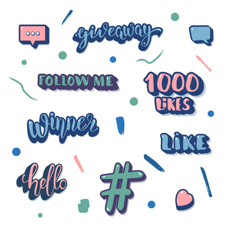 Set of social media things. Elements for internet networks. Giveaway, Winner, Follow Me, Hello, Like, 1000 likes, hashtag, speech bubble signs for post. Vector illustration.