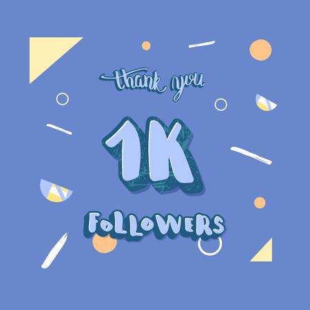 Social media template of 1k followers thank you. Banner for internet networks. 1000 subscribers congratulation post. Vector illustration.
