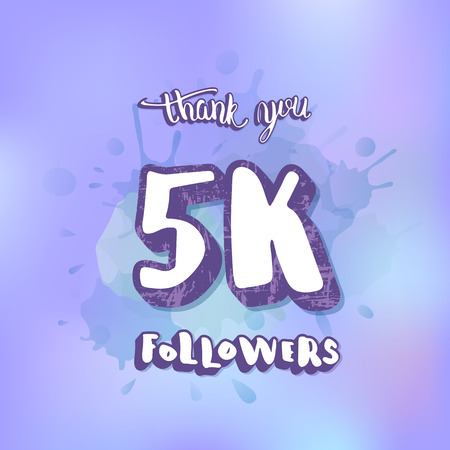 5000 followers thank you social media template. Banner for internet networks.  5K subscribers congratulation post. Vector illustration.