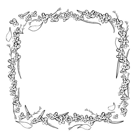 Wild flowers and leaves square frame. Hand drawn style composition. Vector ilustration. Vektorové ilustrace