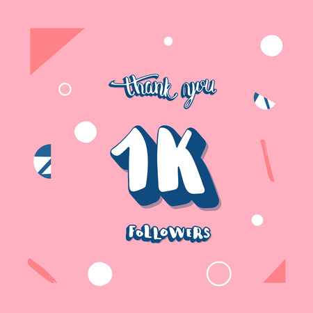 Vector 1k followers social media template. Banner for internet networks with creative handwritten lettering.  1000 subscribers thank you post illustration with geometric and abstract decoration. 向量圖像