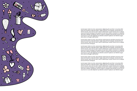 Template for banner, card with cute love symbols. Cats and valentine day objects in doodle style. Vector illustration.