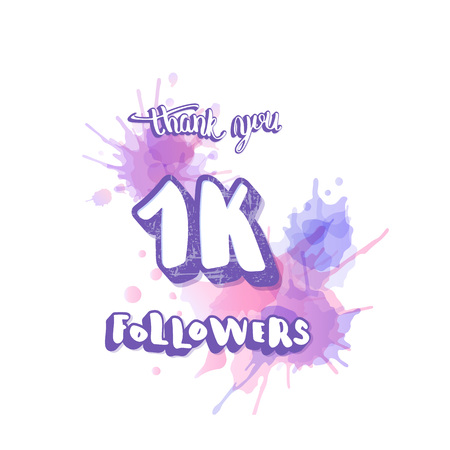 1000 followers thank you social media template. Banner for internet networks. 1K subscribers congratulation post. Vector illustration.