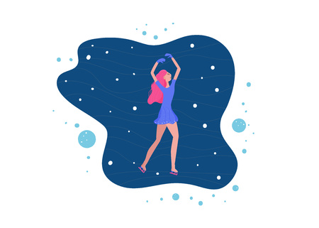 Figure skating concept.  Woman dance on the rink with snow and decoration. Vector illustration.