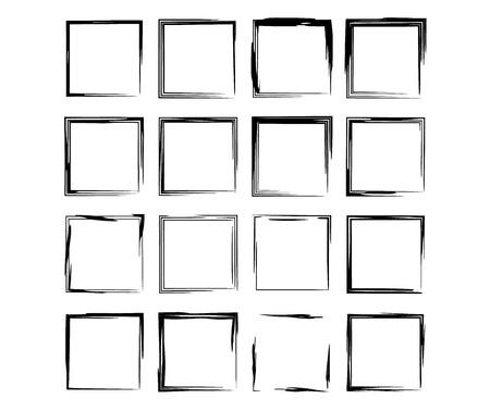 Ensemble de cadres grunge carrés noirs. Collection de bordures vides géométriques. Illustration vectorielle. Vecteurs